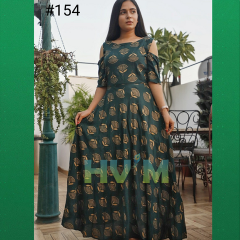 Teal Green Color Heavy Rayon Stitched Dress - Hvm-154