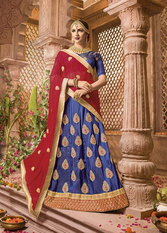 Blue Color Heavy Sana Silk  Semi-Stitched Lehenga  - IC-10661