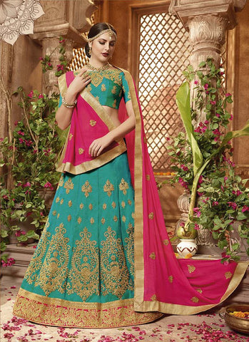 Sea Green Color Heavy Sana Silk  Semi-Stitched Lehenga  - IC-10662