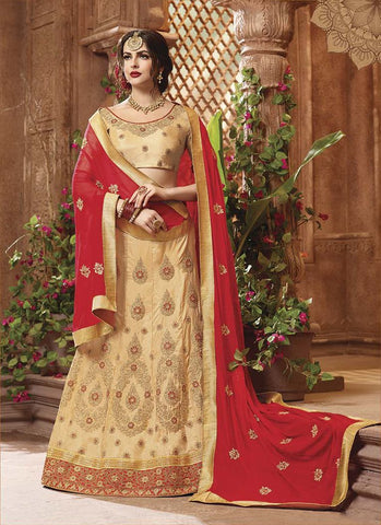 Beige Color Heavy Sana Silk  Semi-Stitched Lehenga  - IC-10666