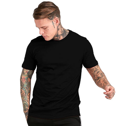 Black Color Cotton Mens Tshirt - ICG-EI-074