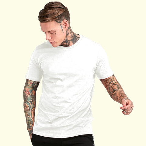 White Color Cotton Mens Tshirt - ICG-EI-075