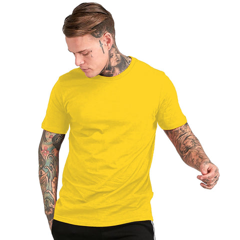 Yellow Color Cotton Mens Tshirt - ICG-EI-077