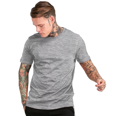 Grey Color Cotton Mens Tshirt - ICG-EI-078
