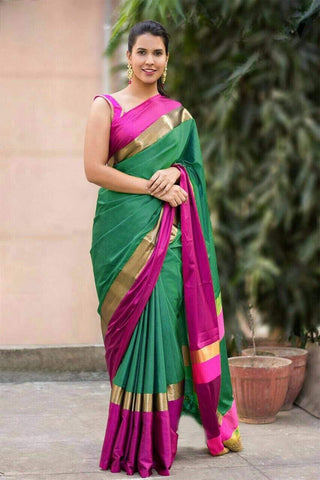 Parrot and Pink Color Soft Cotton Linen Saree - IGNA-03