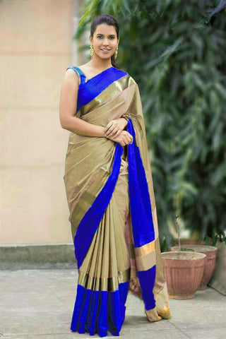 Beige and Blue Color Soft Cotton Linen Saree - IGNA-07