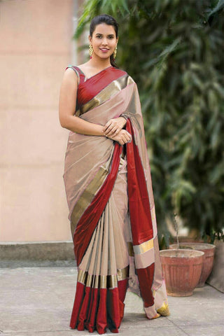 Cream and Red Color Soft Cotton Linen Saree - IGNA-08