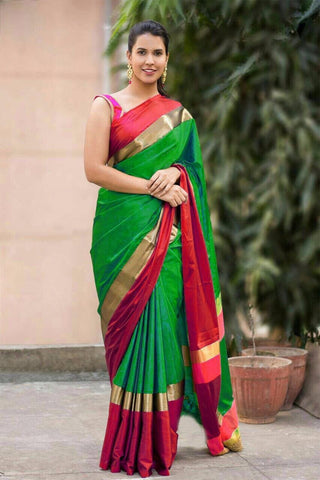 Green and Red Color Soft Cotton Linen Saree - IGNA-10