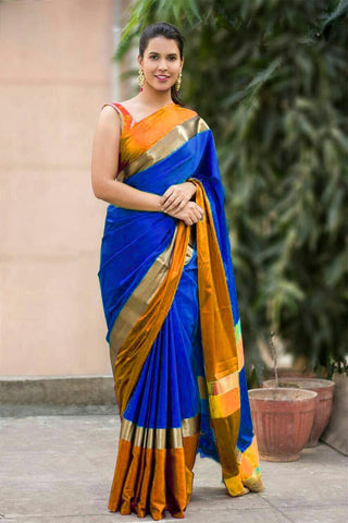 RoyalBlue and Turquoise Color Soft Cotton Linen Saree - IGNA-13