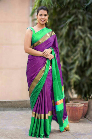 Purple and Green Color Soft Cotton Linen Saree - IGNA-14