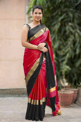 Buy Red and Black Color Soft Cotton Linen Saree