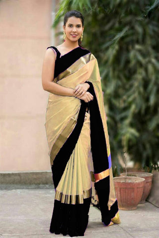 Cream and Black Color Soft Cotton Linen Saree - IGNA-17