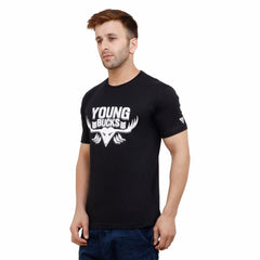 Black Color Cotton Mens Tshirt - BUCKS-H01