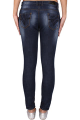 Dark Blue Color Cotton Lycra Women's Jeans - KWJ5001
