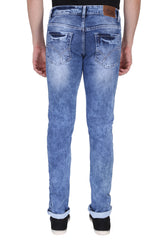 Light Blue Color Cotton Lycra Mens Jeans - SPJN120
