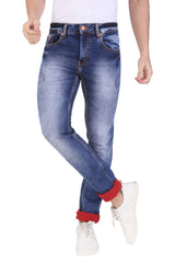 Light Blue Color Cotton Lycra Mens Jeans - SPJN555