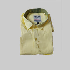 Yellow Color Cotton Men's Solid Shirt - KMI-LP-PLAIN-7