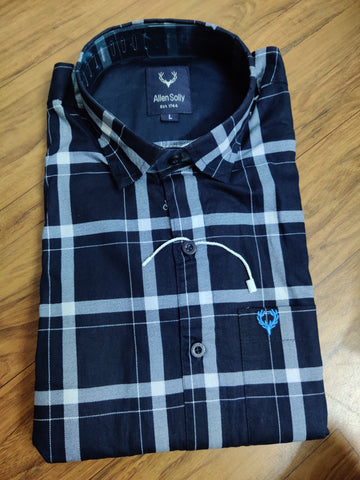 Black Color Premium Cotton Men's Checkered Shirt - KGC-311019-AS-CH-1