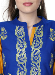 Blue Color Cotton Stitched Kurti - VFK-0178