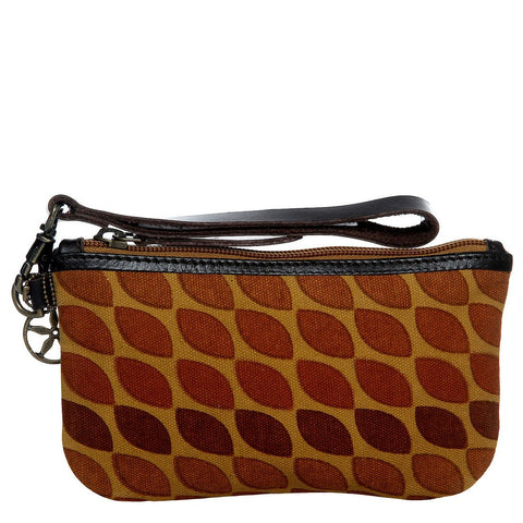 Ochre  Color Waxed Cotton Canvas And Buff Leather Womens Wristlet - IMW81075TB