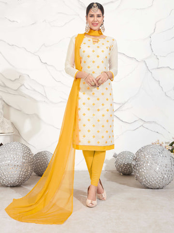 White Color Chanderi Cotton UnStitched Salwar - INTRACITY-1003