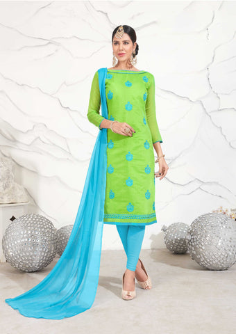 Green Color Chanderi Cotton UnStitched Salwar - INTRACITY-1005