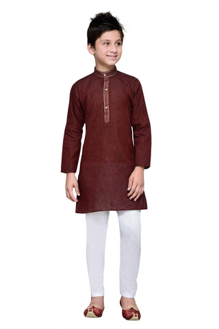 Maroon  Color Cotton Kurta Pyjama - IP102