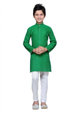 Green  Color Cotton Kurta Pyjama - IP104