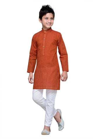 Rust  Color Cotton Kurta Pyjama - IP105