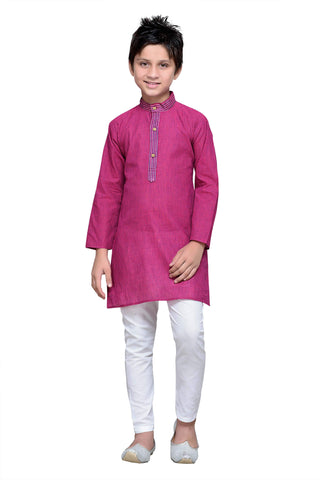 Purple  Color Cotton Kurta Pyjama - IP106