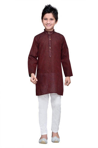 Maroon  Color Cotton Kurta Pyjama - IP108