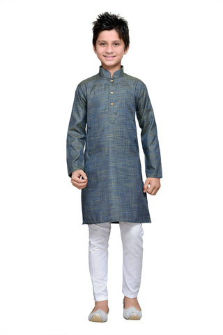 Grey  Color Cotton Kurta Pyjama - IP111