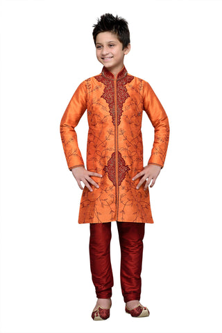 Orange Color Art Silk Kurta Pyjama - IP116