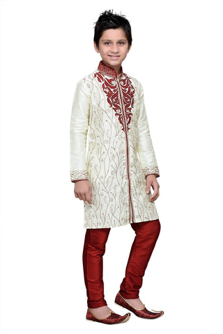 Cream Color Art Silk Kurta Pyjama - IP117