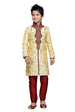 Gold Color Art Silk Kurta Pyjama - IP119