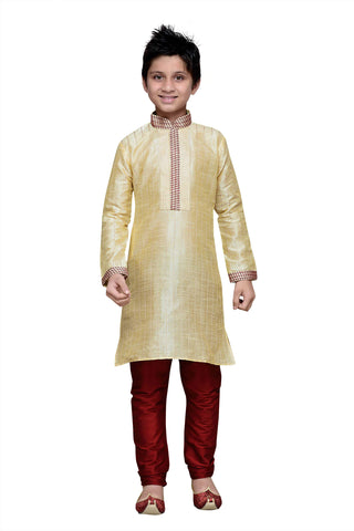 Gold Color Art Silk Kurta Pyjama - IP121