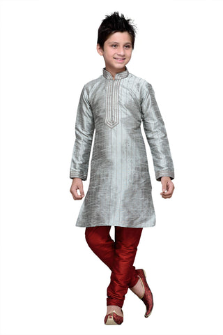 Grey Color Art Silk Kurta Pyjama - IP123