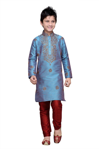 Rama Green Color Art Silk Kurta Pyjama - IP124