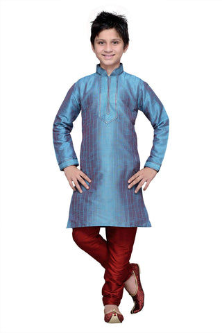 Rama Green Color Art Silk Kurta Pyjama - IP125