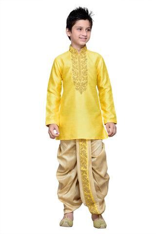 Yellow  Color Art Silk  Kurta Pyjama - IP127