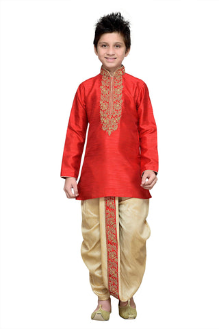 Maroon Color Art Silk Kurta Pyjama - IP128