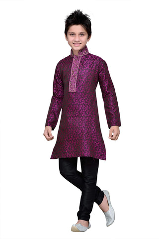 Purple Color Brocade Kurta pyjama - IP131