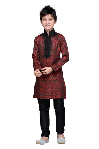 Maroon Color Brocade Kurta pyjama - IP132