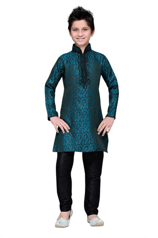 Green Color Brocade Kurta pyjama - IP134