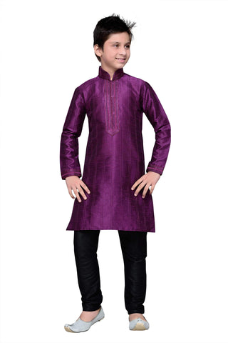 Purple Color Art Silk Kurta Pyjama - IP135