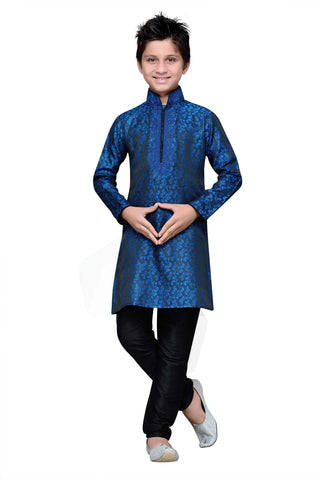 Navy Blue Color Brocade Kurta pyjama - IP136