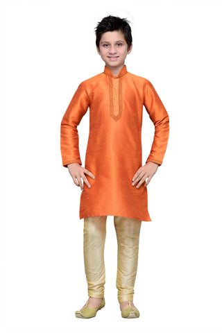 Orange Color Art Silk Kurta Pyjama - IP137