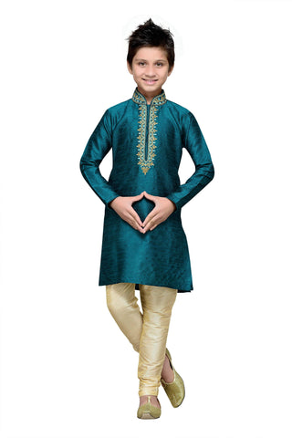 Rama Green Color Art Silk Kurta Pyjama - IP138