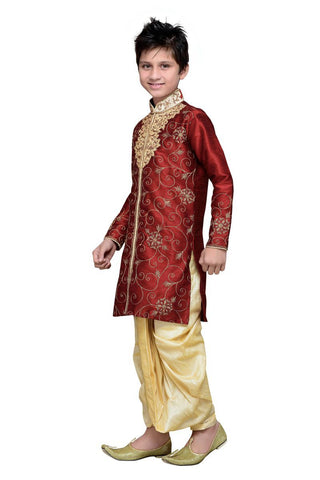 Maroon Color Art Silk Kurta Pyjama - IP140