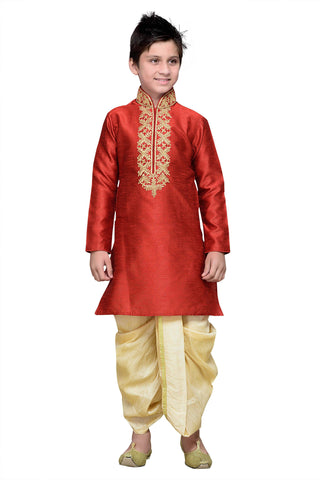 Maroon Color Art Silk Kurta Pyjama - IP141